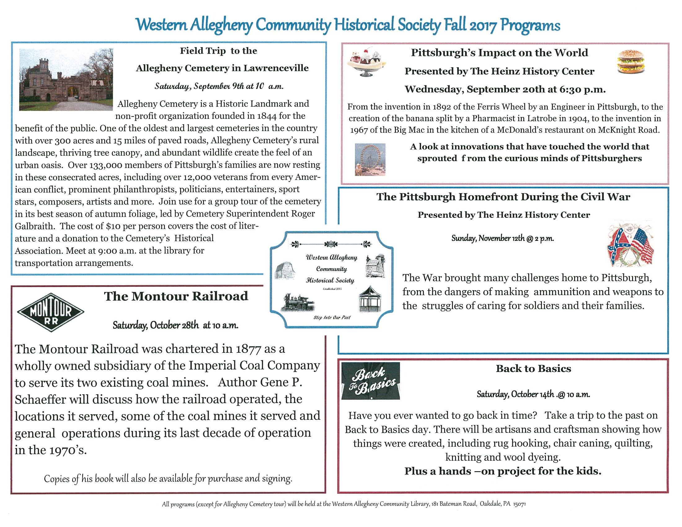 western allegheny historical society fall 2017 programs
